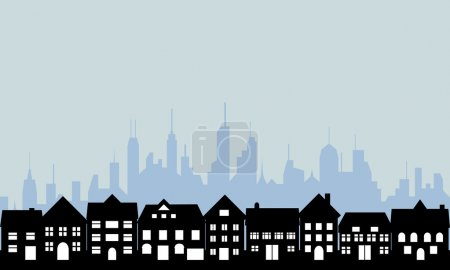 Illustration for Suburban homes and big city - Royalty Free Image
