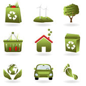 Recycling and green related eco symbols