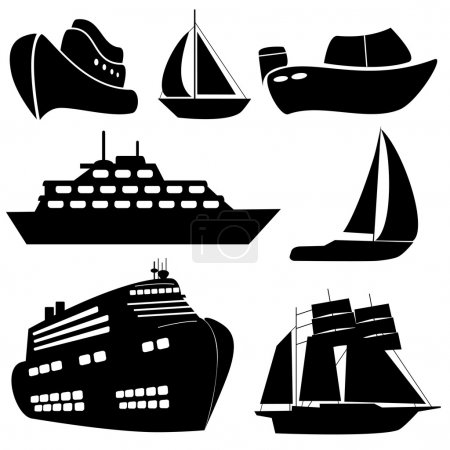 Illustration for Ships and boats in black - Royalty Free Image