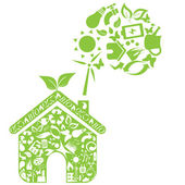 Green house with eco symbols