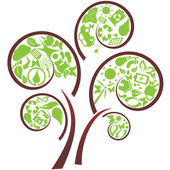 Green tree with eco symbols