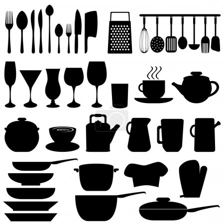 Illustration for Kitchen objects and utensils in black - Royalty Free Image