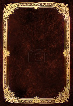 Photo for Old brown book cover with golden frame - Royalty Free Image