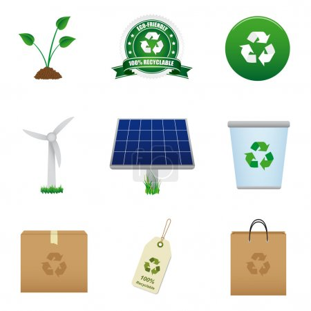 Renewable energy and recycle icon