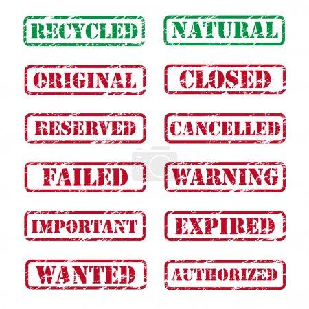 Illustration pour Collection de différents timbres en caoutchouc - image libre de droit