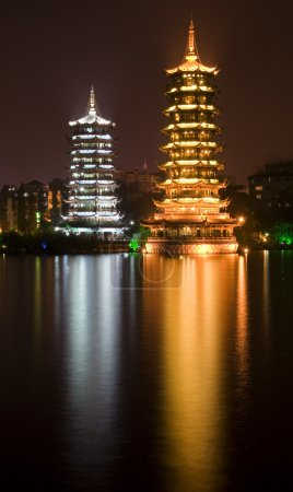 Gold and Silver Pagodas at Night Guilin, China