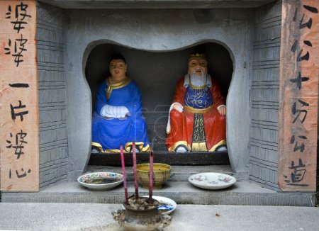 China Street Shrine with Gods and Old Chinese Sayings