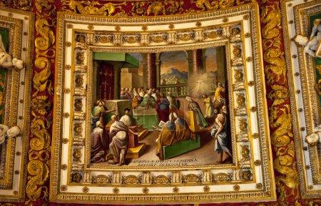Vatican Museum Inside Map Room Ceiling Details Holy Spirit Paint