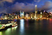 Hong Kong Harbor at Night from Kowloon Ferry