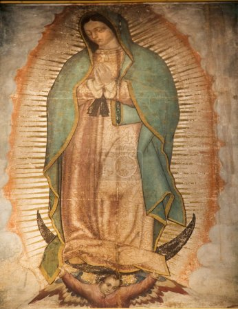 Virgin Mary Guadalupe Painting Shrine Mexico City