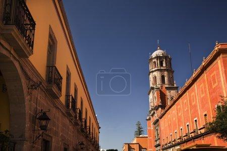 Orange Adobe Wall San Francisco Church Queretaro Mexico
