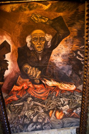 Photo for Mural of Miguel Hidgalgo Costilla, leader of Mexican Independence, Walking up stairs in Government Palace, Guadalajara, Mexico. Mural by Jose Clemente Orozco a - Royalty Free Image