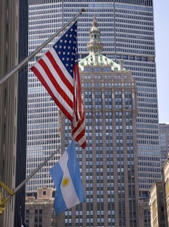 Park Avenue Building Grand Central Terminal with Flags New York