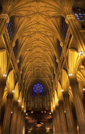St. Patrick's Cathedral Inside Organ Stained Glass Arches New Y