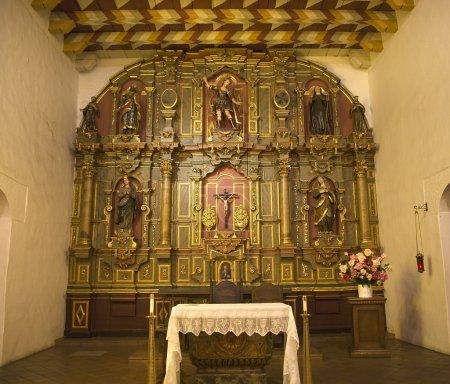 Photo pour Chapelle Autel Détails de la table Mission Dolores Saint Francis De Assis Ornate Carvings San Francisco Californie - image libre de droit