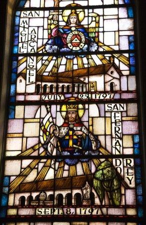 Photo pour Saint Michael San Fernando Vitrail Mission Dolores Saint Francis De Assis San Francisco Californie - image libre de droit