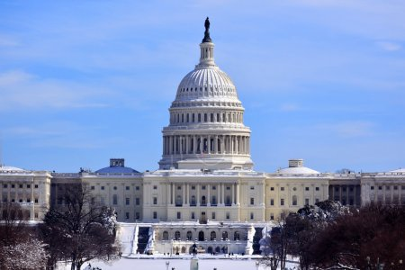 US Capitol Dome Houses of Congress After Snow Washington DC