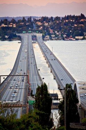 I-90 Bridge Seattle Mercer Island Cascade Mountains Washington S