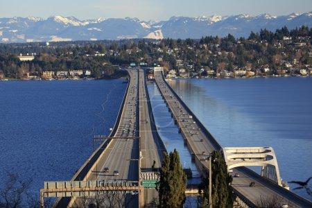 I-90 Bridge Seattle Mercer Island Snowy Cascade Mountains Washin