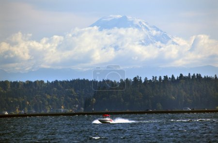 Mount Rainier from Lake Washington Red Speedboat Floating Bridge