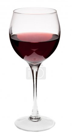 Glass of red wine on a white background and with soft shadow.