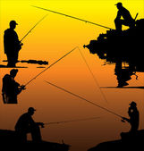 Fishermans silhouettes