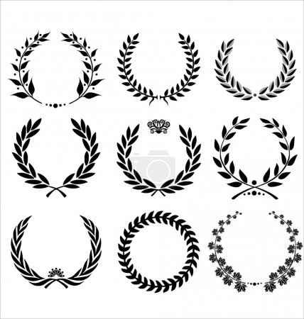 Illustration for Set Of Laurel Wreaths - Royalty Free Image