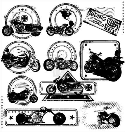 Motorbike stamps-set