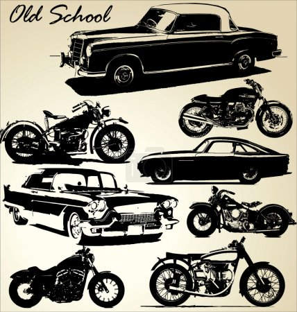 Illustration for Old school cars and motorbikes - Royalty Free Image