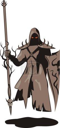 """Illustration pour Illustration vectorielle """"Guerrier des ténèbres"""" dans le style """""""". Un fantôme planant du guerrier avec une lance et une planche - image libre de droit"""