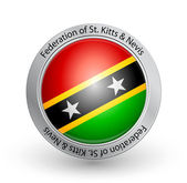 Vector illustration of a badge with the flag of Federation of St Kitts and Nevis