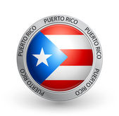 Vector illustration of a badge with Puerto Rico flag