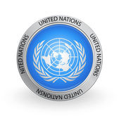 Vector illustration of a badge with the United Nations flag