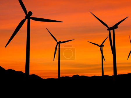 Wind turbines in sunset 1