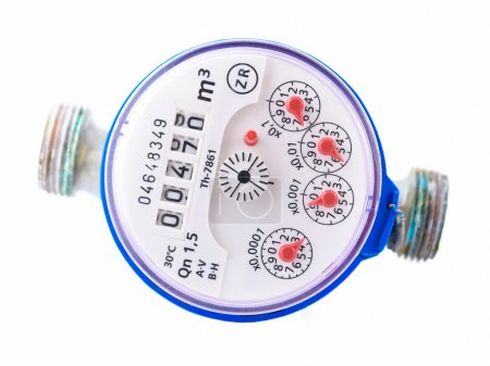 Photo pour Un compteur d'eau isolé sur fond blanc - image libre de droit
