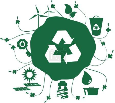 Illustration pour Globe avec ensemble d'icônes avec des questions sociales telles que le recyclage et le monde durable et pourtant le symbole de recyclage . - image libre de droit