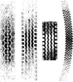 A collection of 4 Grunge tire tracks negative and positive
