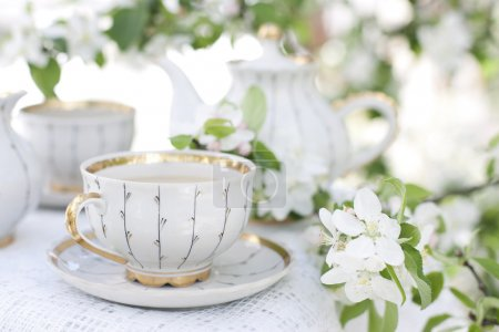 Tea in the blossoming garden