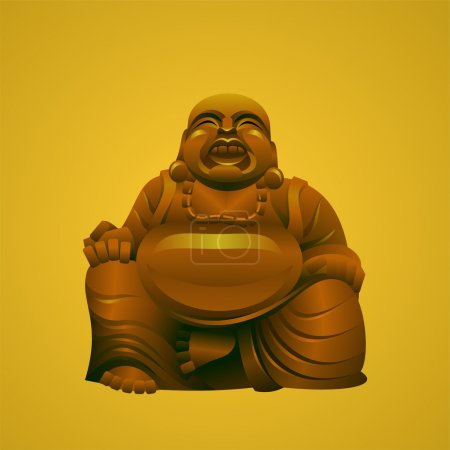 Illustration for Vector illustration of a laughing buddha statue - Royalty Free Image
