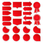 Big set of red vector price tags
