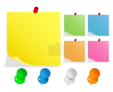 Vector Post-It Notes with Push Pins
