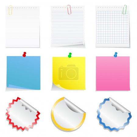 Ilustración de Vector notas de papel y etiquetas - Imagen libre de derechos