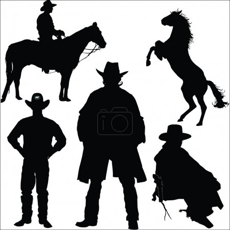 Cowboy and horse silhouettes on a white background