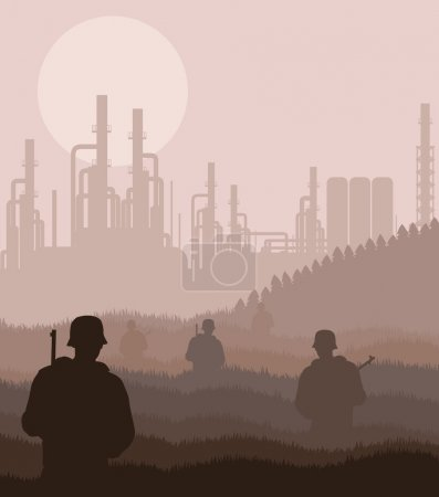 Army guarded nuclear power plant in wild landscape illustration