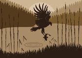 Animated osprey hunting fish in wild nature foliage illustration