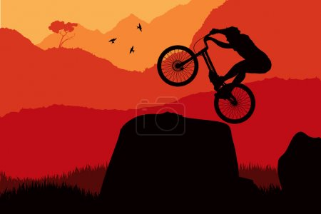 Photo for Professional trial mountain bike with rider vector background in nature - Royalty Free Image