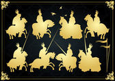 Medieval knights in battle vector background, rider leader duel
