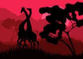 Romantic giraffe couple running in wild nature landscape illustration