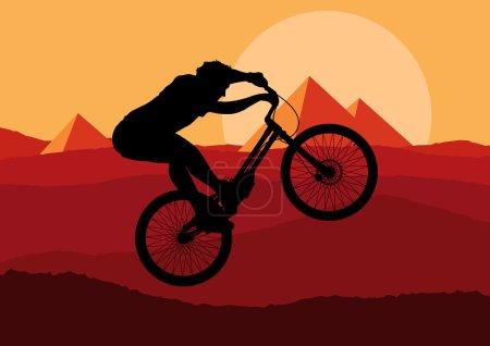 Illustration pour Illustration vecteur de montagne du procès professionnel mignon vélo - image libre de droit