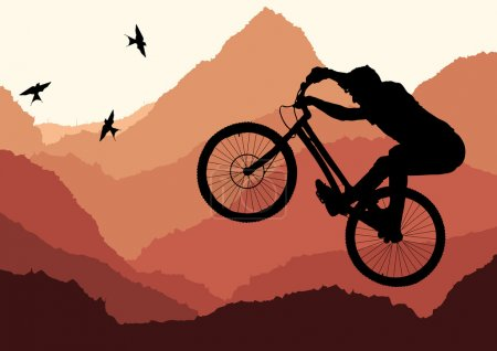 Cute professional trial mountain bike illustration